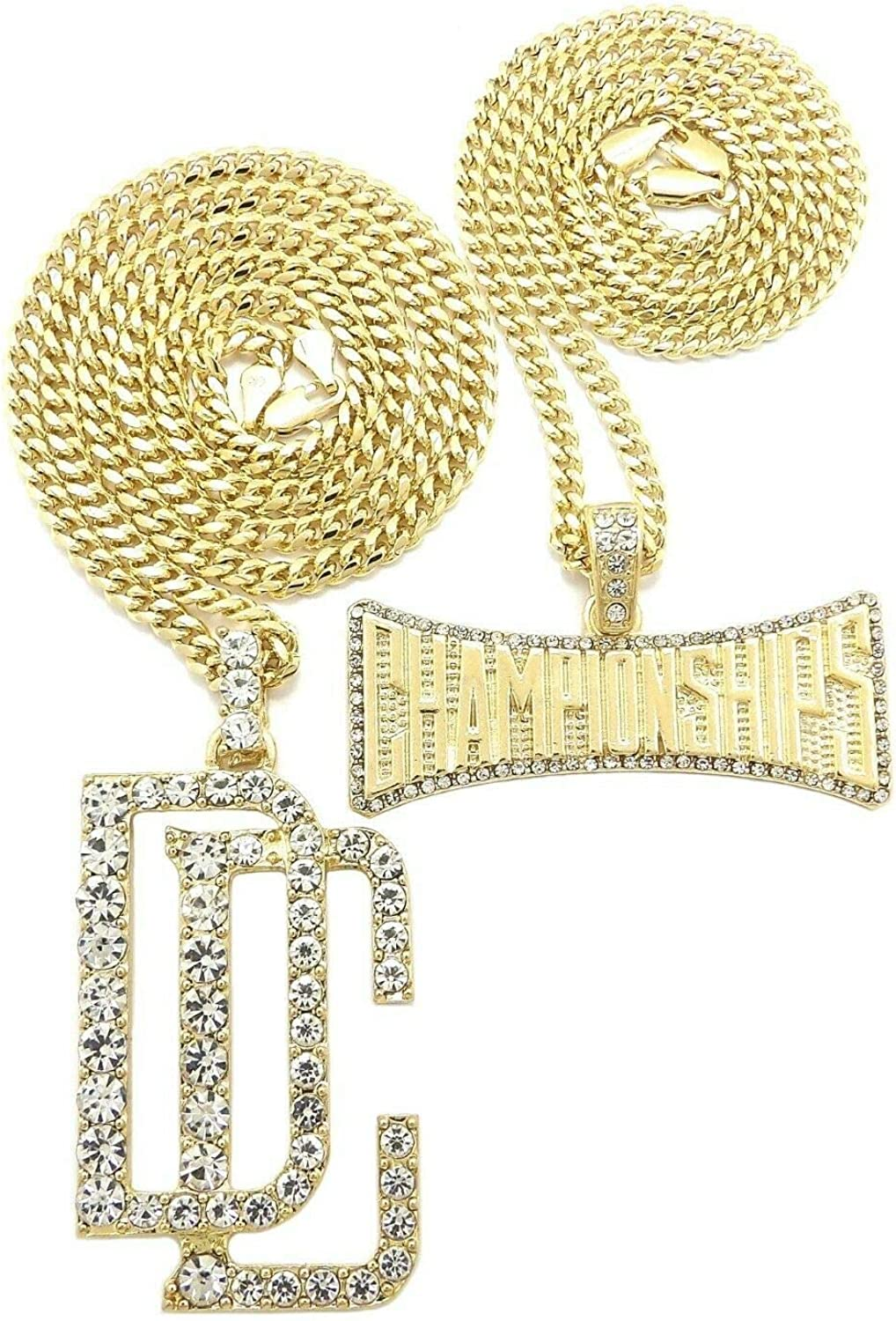 BLINGFACTORY Dream Chasers DC /& Championship Pendant /& 20 24 Cuban Chain Hip HOP Necklace