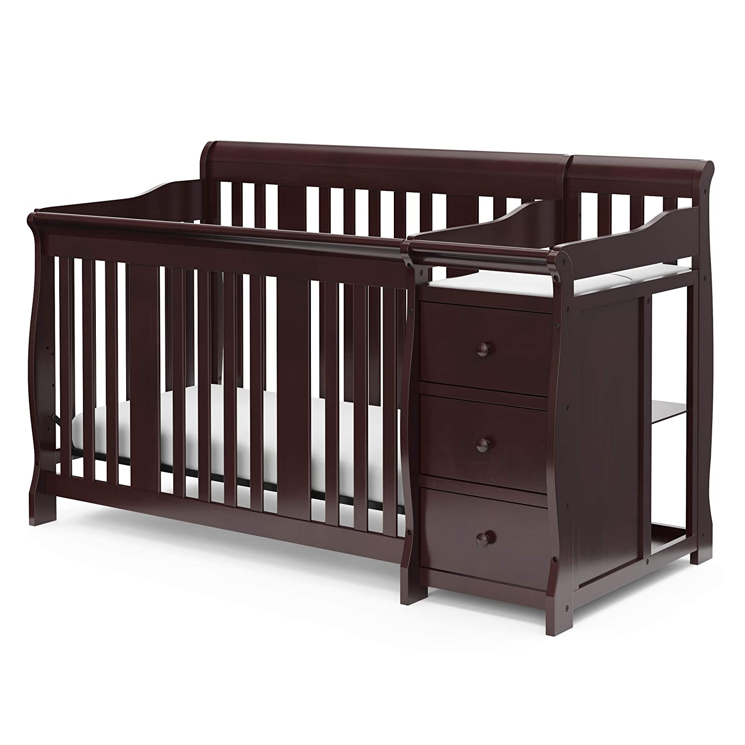 Storkcraft Portofino Fixed 4-in-1 Convertible Baby Cribs With Changing Table