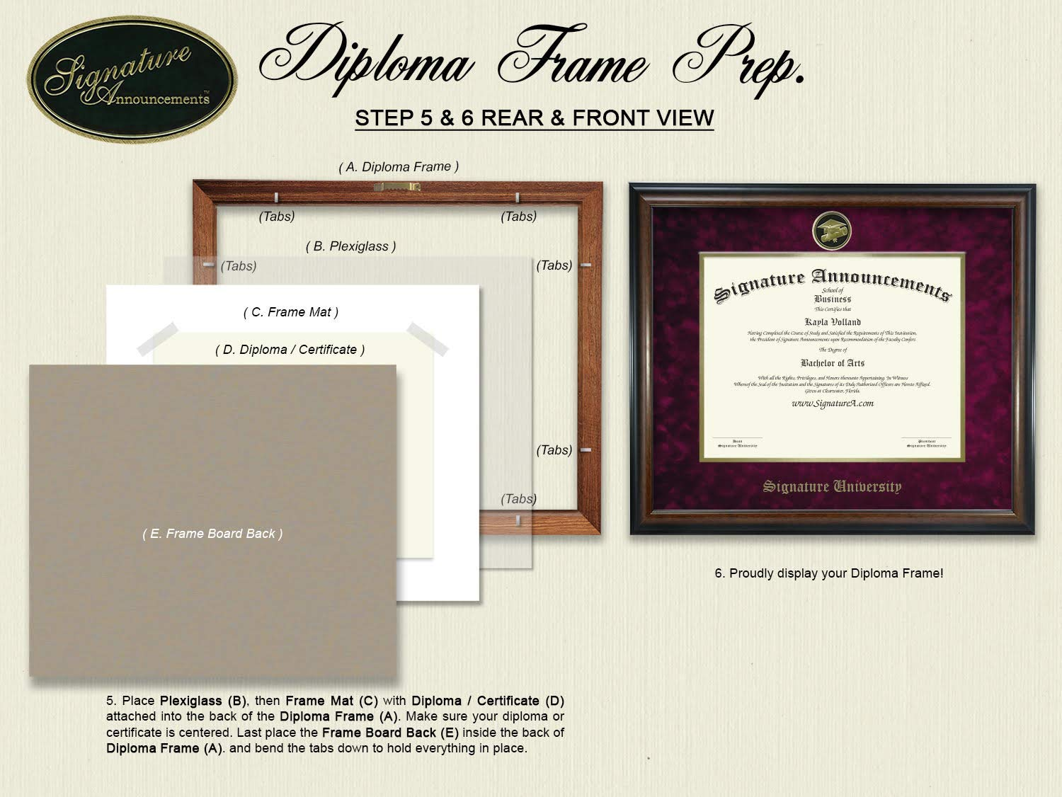 Signature Announcements Jackson-State-University Doctorate Sculpted Foil Seal Graduation Diploma Frame 16 x 16 Matte Mahogany
