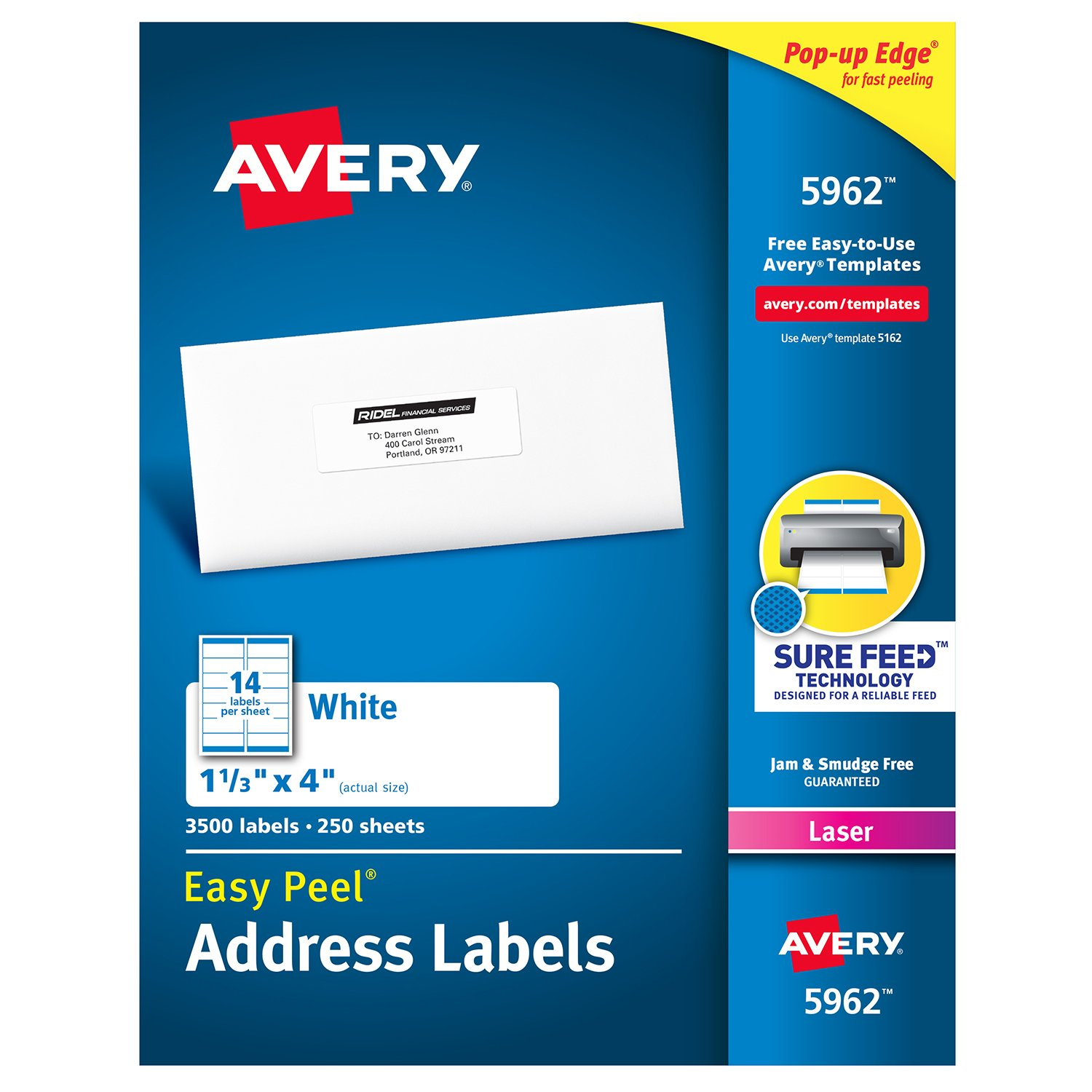 Avery 1-1/3 x 4 Inch White Mailing Labels 3500 Count (5962): Amazon ...