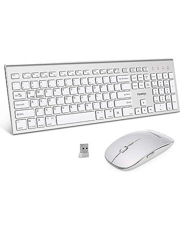 Wireless Keyboard and Mouse Combo,FENIFOX Dual System Switching Double Ergonomic Full-Size USB