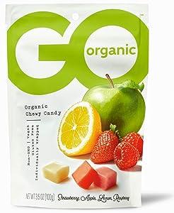 Go Organic Candies, Assorted Flavors, Strawberry, Apple, Lemon, Raspberry, 6 Count