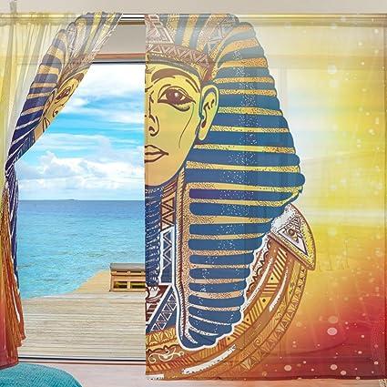 ALAZA gasa Sheer cortina de ventana Ancient egipcio máscara dorada Faraón puerta forma de tul cortina