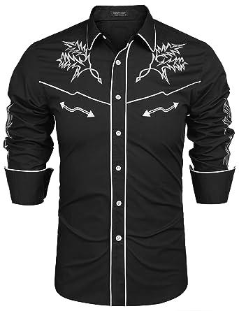 035a87b9 COOFANDY Mens Western Cowboy Shirt Embroidered Denim Long Sleeve Casual  Button Down Shirt