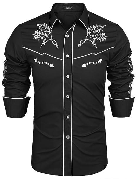 cheaper cf3db 1ebfb COOFANDY Mens Western Cowboy Shirt Embroidered Denim Long Sleeve Casual  Button Down Shirt