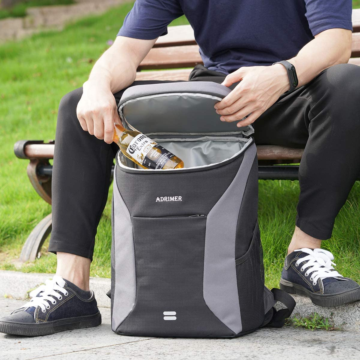 Day Trip ADRIMER Backpack Coolers Insulated Leakproof 30 Cans Lunch Cooler Backpack Insulated Lightweight for Men Women to Picnic Park Hiking Camping