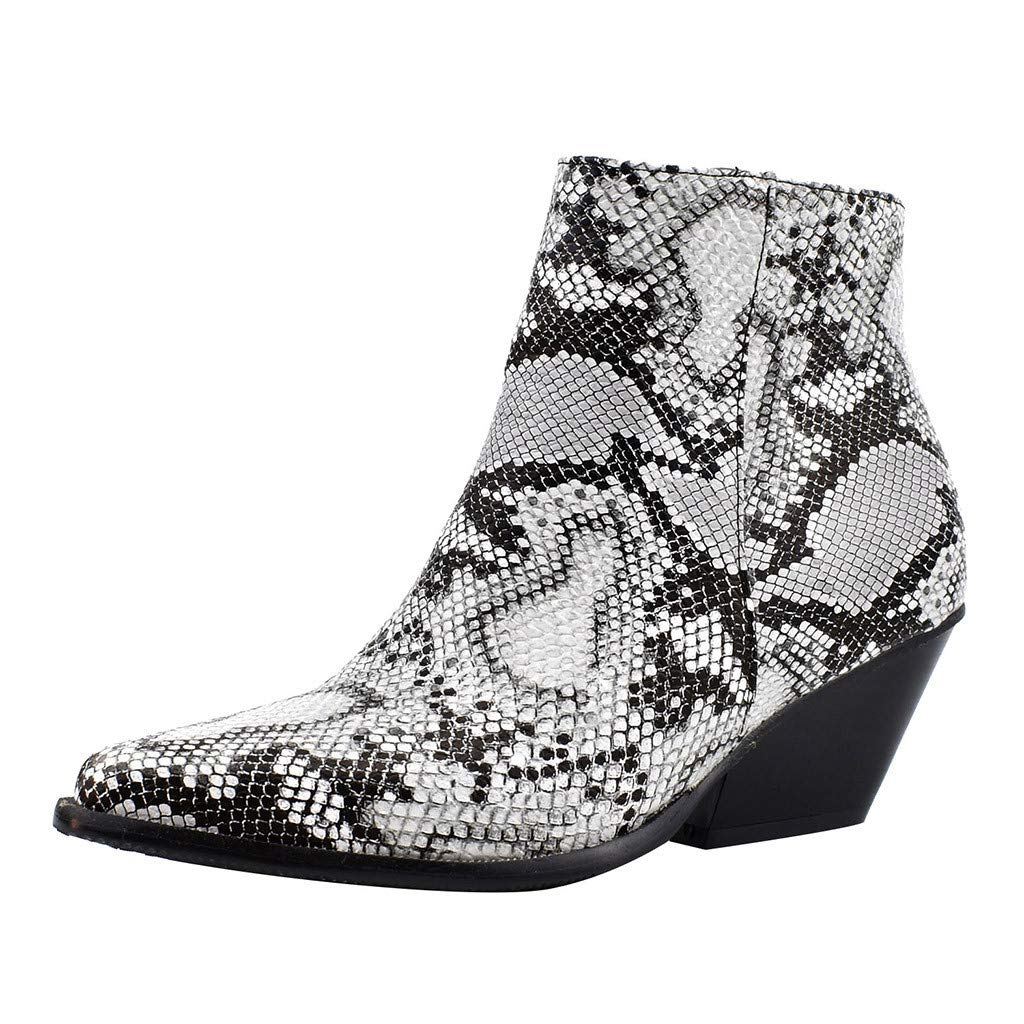Women's Fashion Chunky Heel Pointed Toe Ankle Boots Snakeskin Side Zipper Comfort Casual Shoes (US:8.5, White)