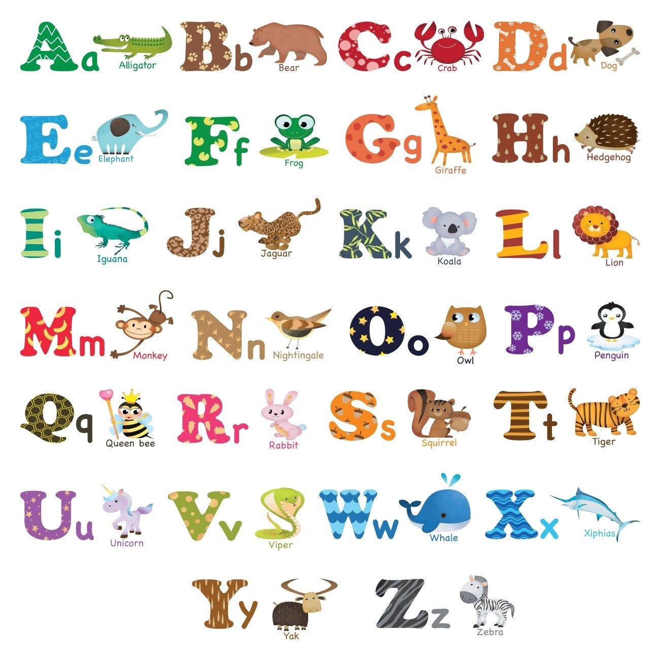 Decowall DA-1308L Alphabet ABC and Animals Kids Wall Stickers Wall Decals Peel and Stick Removable Wall Stickers for Kids Nursery Bedroom Living Room (Large)