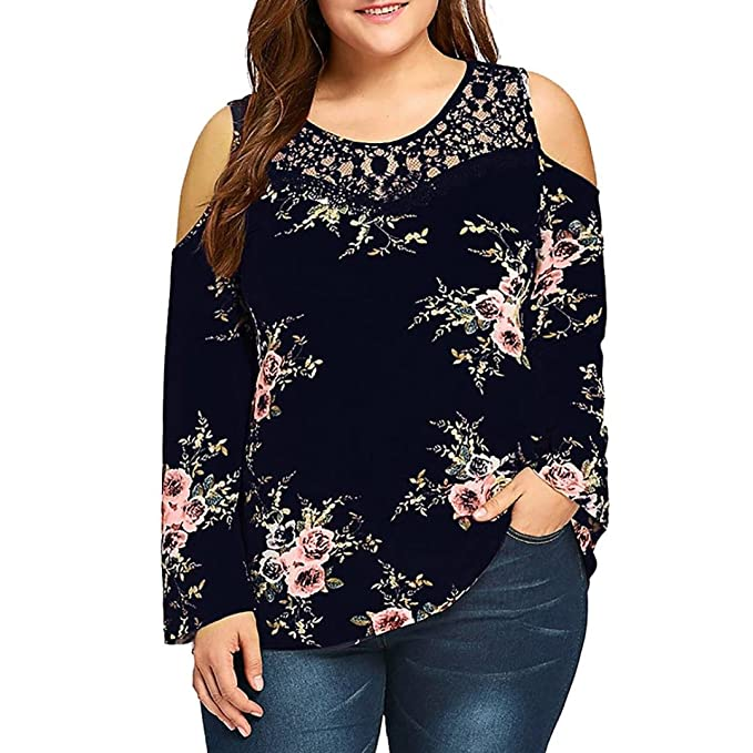 c6a0fbad1 Overdose Blusa OtoñO Moda para Mujer Casual Plus Size Encaje Cold Shoulder  Floral Impreso T-Shirt Tops