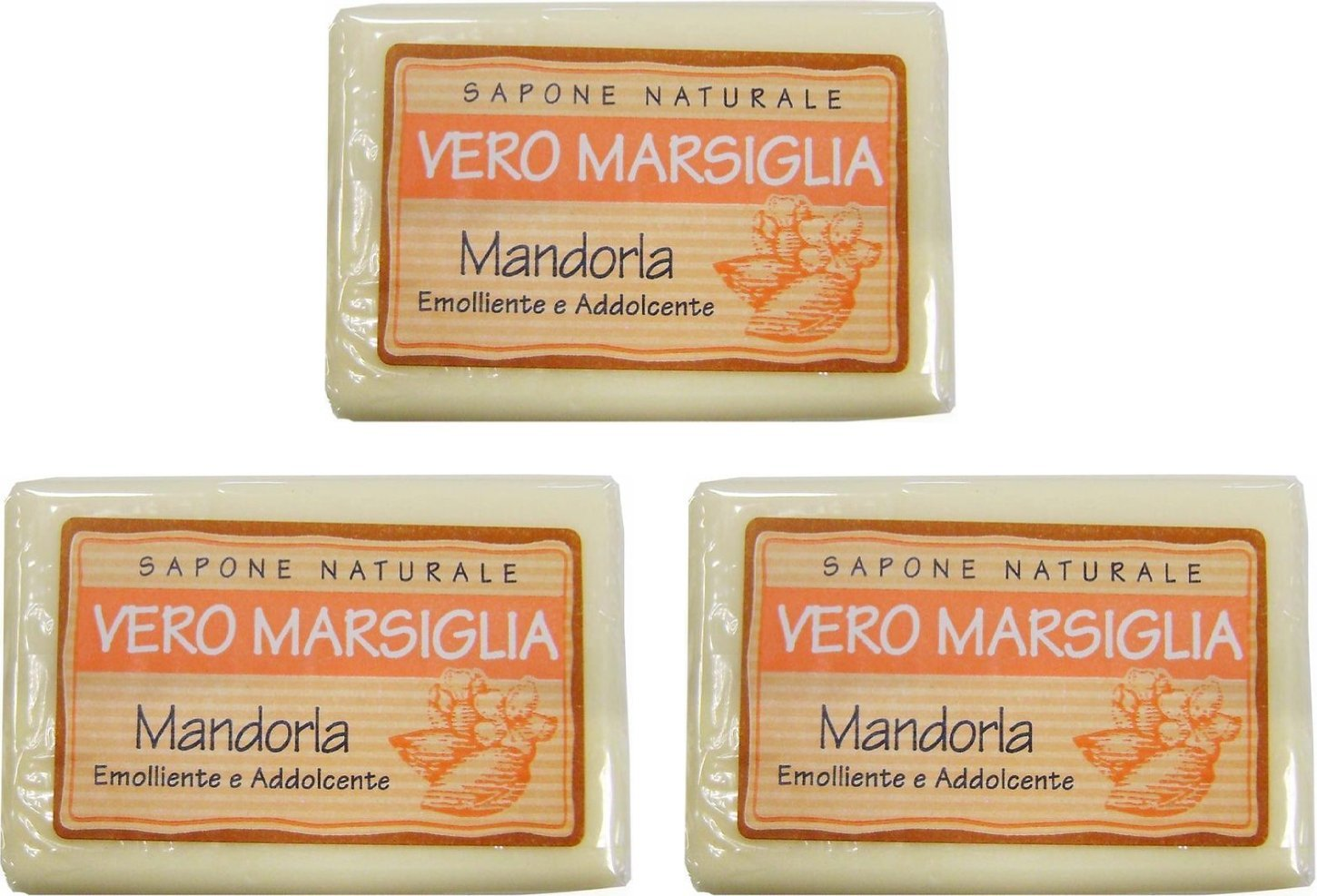 "Saponeria Nesti Firenze:""Vero Marsiglia"" Almond Soap 5.29 Ounce (150gr) Packages (Pack of 3) [ Italian Import ]"