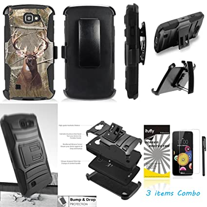 For LG K4 /LG Spree /LG Optimus Zone 3 VS425PP /LG Rebel Ituffy 3item: LCD  Film+Stylus Pen+[Dual Layer Shock Proof][Belt Clip Holster