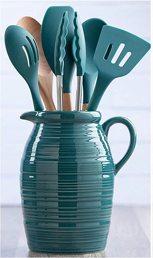 Farmhouse Crock And Utensil Set 7 Piece Green Ceramic Kitchen Dining