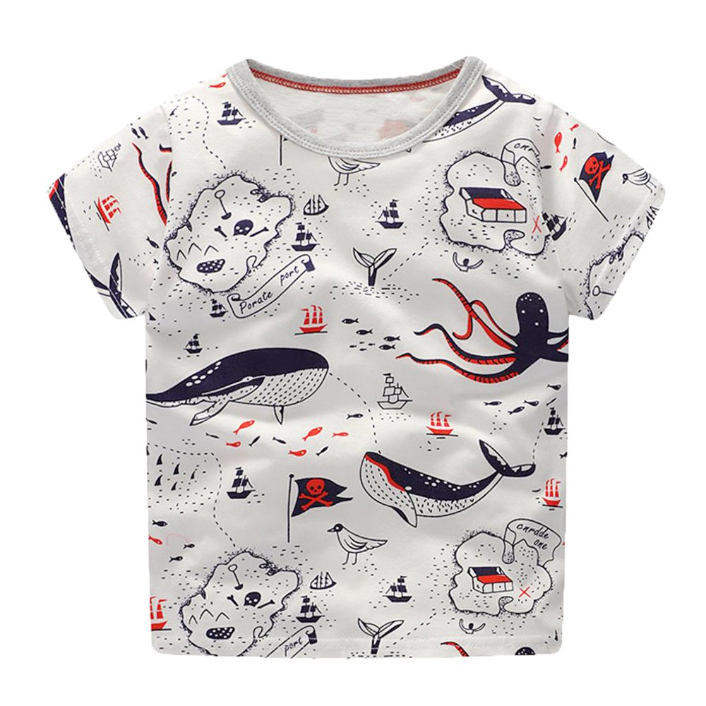 LuckyRabbit Little Boys Short Sleeve Cotton T Shirt Summer Top (sea) 5T