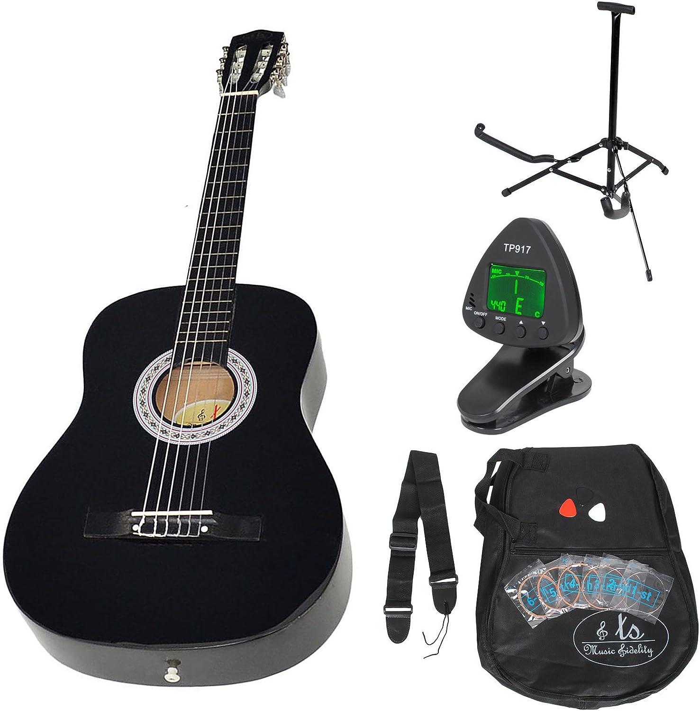 Guitarra clásica concierto completa con accesorios. Calidad Estándar. NEGRA. Tamaño regular (4/4).