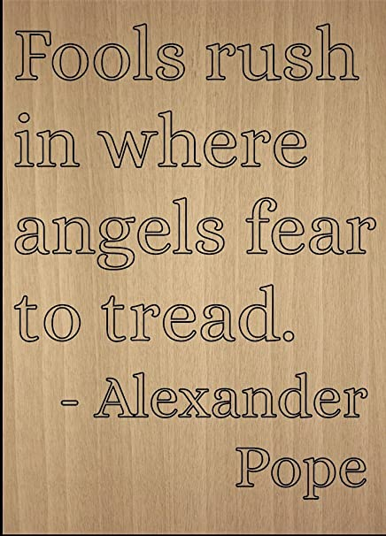 Amazoncom Fools Rush In Where Angels Fear To Quote By