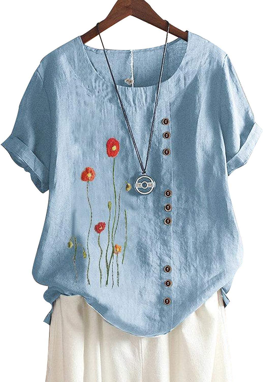 LOSRLY - Camiseta de manga corta con botones bordados para ...