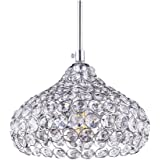 Lámpara de techo LED, de cristal, moderna I Casquillo LED E14I–Lámpara de techo tipo araña I Para oficina, salón, dormitorio, habitación de los niños, etc. - Plateada