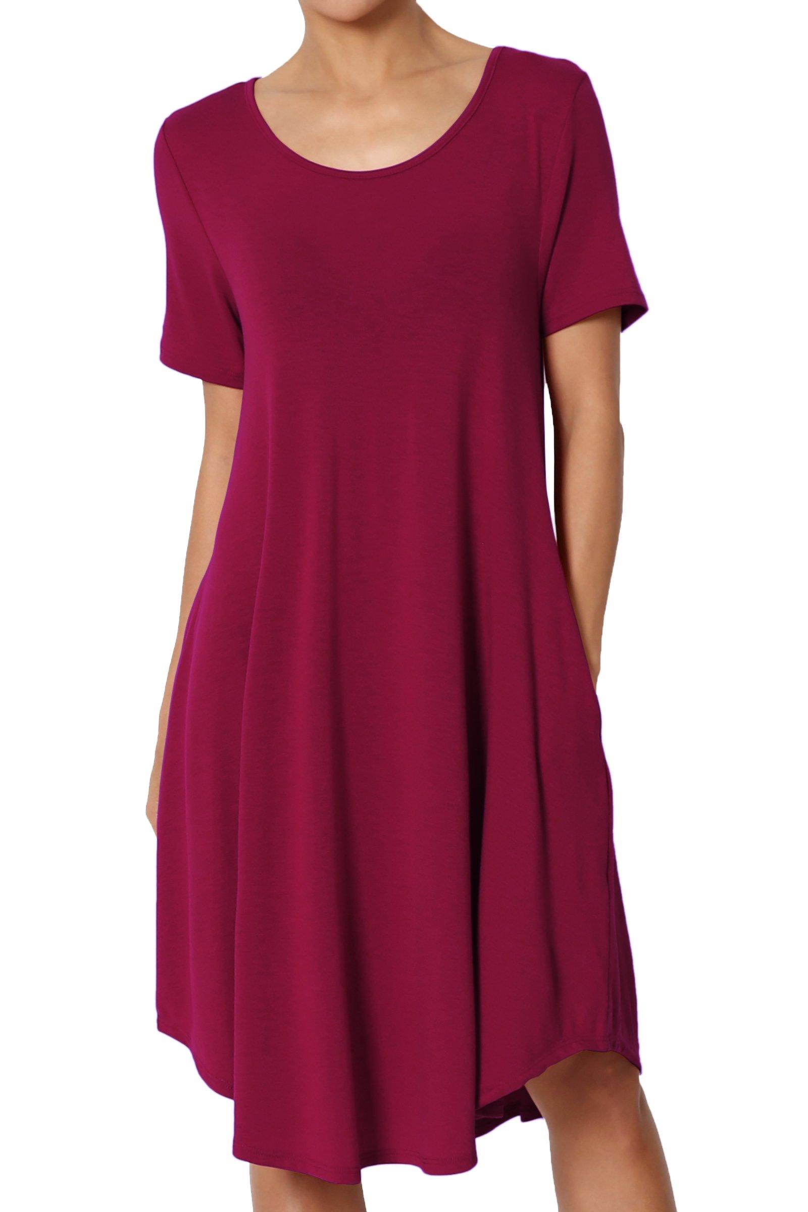 TheMogan Women's Short Sleeve Trapeze Knit Pocket T-Shirt Dress Wine 2XL