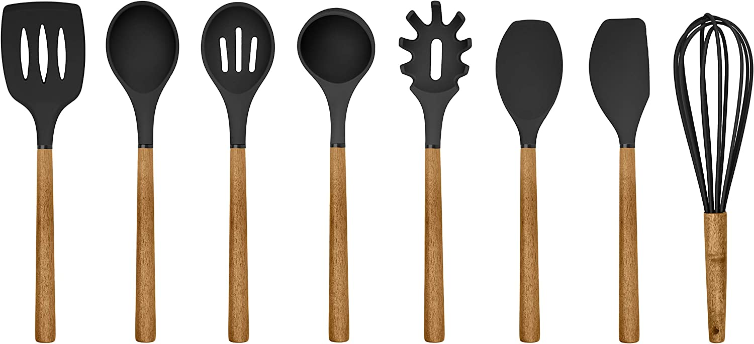 Country Kitchen Silicone Cooking Utensils, 8 Pc Kitchen Utensil Set, Easy to Clean Wooden Kitchen Utensils, Cooking Utensils for Nonstick Cookware, Kitchen Gadgets and Spatula Set - Black
