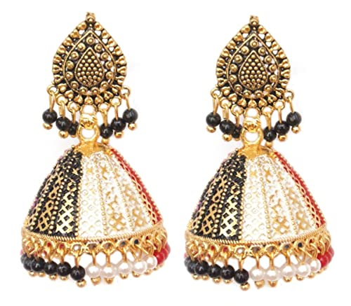 e1caa81bd Pahal Ethnic Bollywood Faux Pearl Big Gold Jhumka Earrings Designer South  Indian Wedding Jewelry Set (