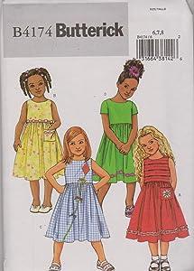 Butterick Sewing Pattern 4174 B4174 Girls' Size 6-7-8 Easy Classic Sleeveless Short Sleeve Dresses