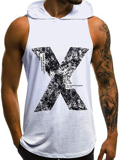 Camisetas sin Mangas de Escalada para Hombre Letras Impresión con Capucha Camisa Tirantes Deportes Sudaderas Moda Básica T-Shirt Muscle Gym Tank Tops ...