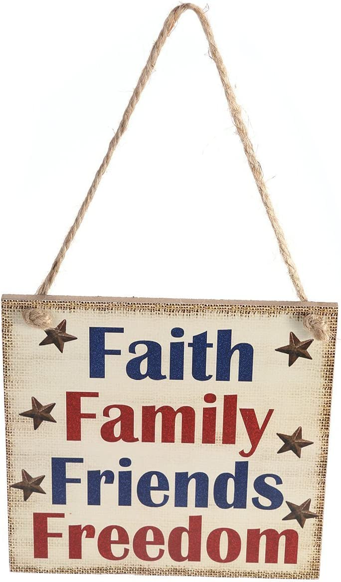 BinaryABC 4th of July Wooden Sign Plaque Door Wall Hanging Decorations,Independence Day Party Decorations,Faith Family Friends Freedom