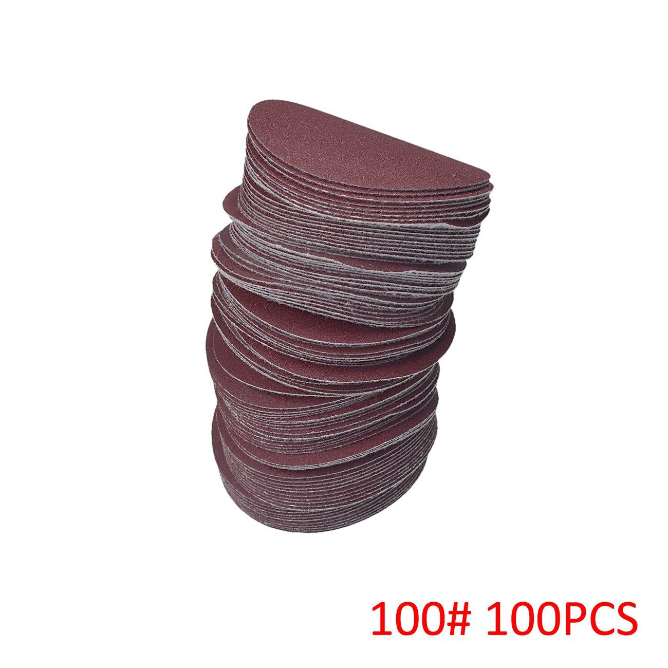 NAVARME 100pcs 100mm 4 Inch Sanding Disc 100 Grit Orbital Sander Pads Abrasive Sandpaper