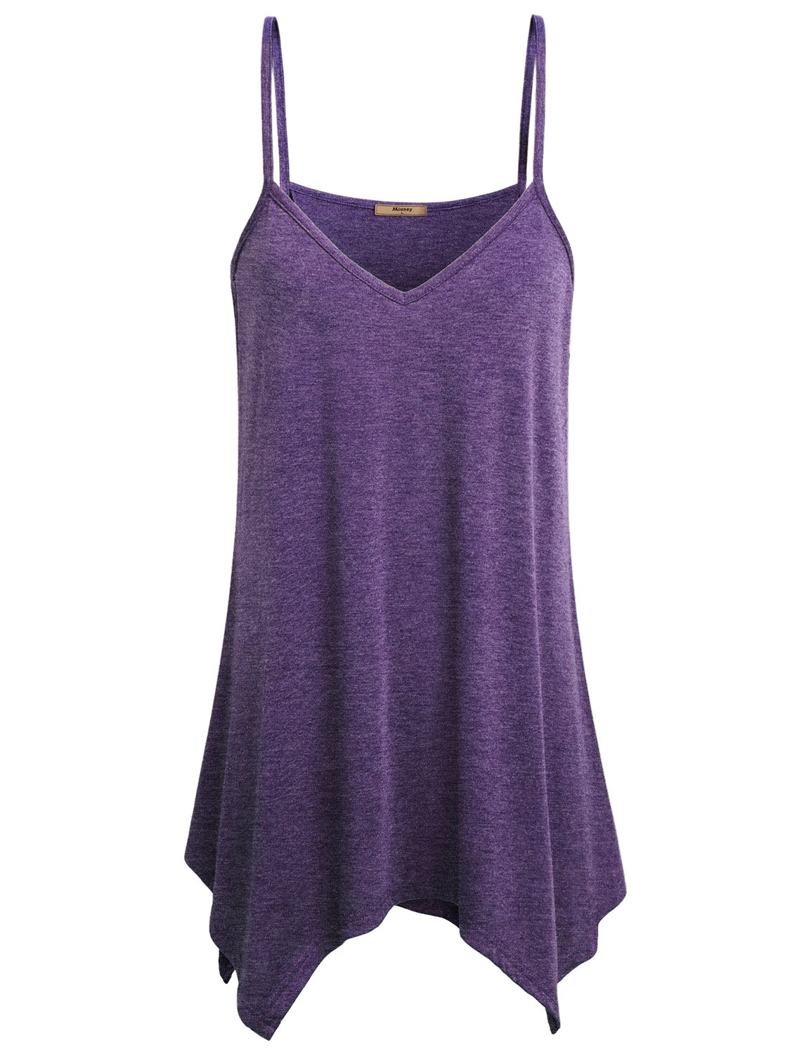 1f3e6c4d6b Miusey Tank for Leggings Womens V Neck Fowly Swing Tunic Tops Handkerchief  Hem Spaghetti Strap A Line Casual Summer Stretch Asymmetrical Beach Party  Loose ...