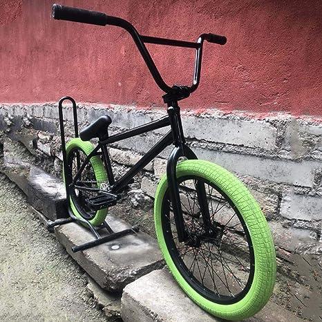 GASLIKE Bicicleta Freestyle BMX, Ruedas de 20 Pulgadas para Adultos y Adolescentes, Engranaje 25X9T, Manillar de 8,6 Pulgadas/Marco de Acero al Cromo molibdeno y Horquilla Delantera, neumático Verde: Amazon.es: Deportes y aire