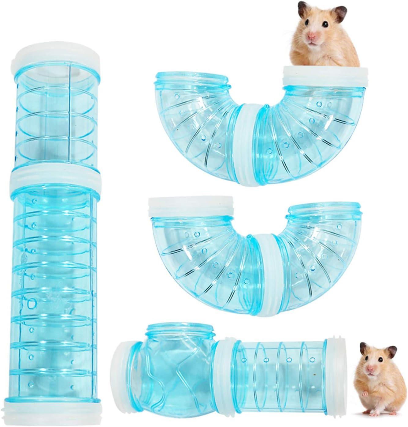 WishLotus - Juego de tubos para hámster de aventura, material transparente, jaula de hámster y accesorios, juguetes para ampliar el espacio, bricolaje, conexión creativa, túnel de rata(azul)
