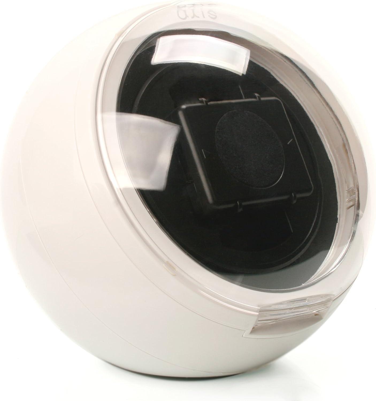 Caja giratoria Axis® watch winder esférica, de color blanco para 1 reloj con luz LED azul: Amazon.es: Relojes