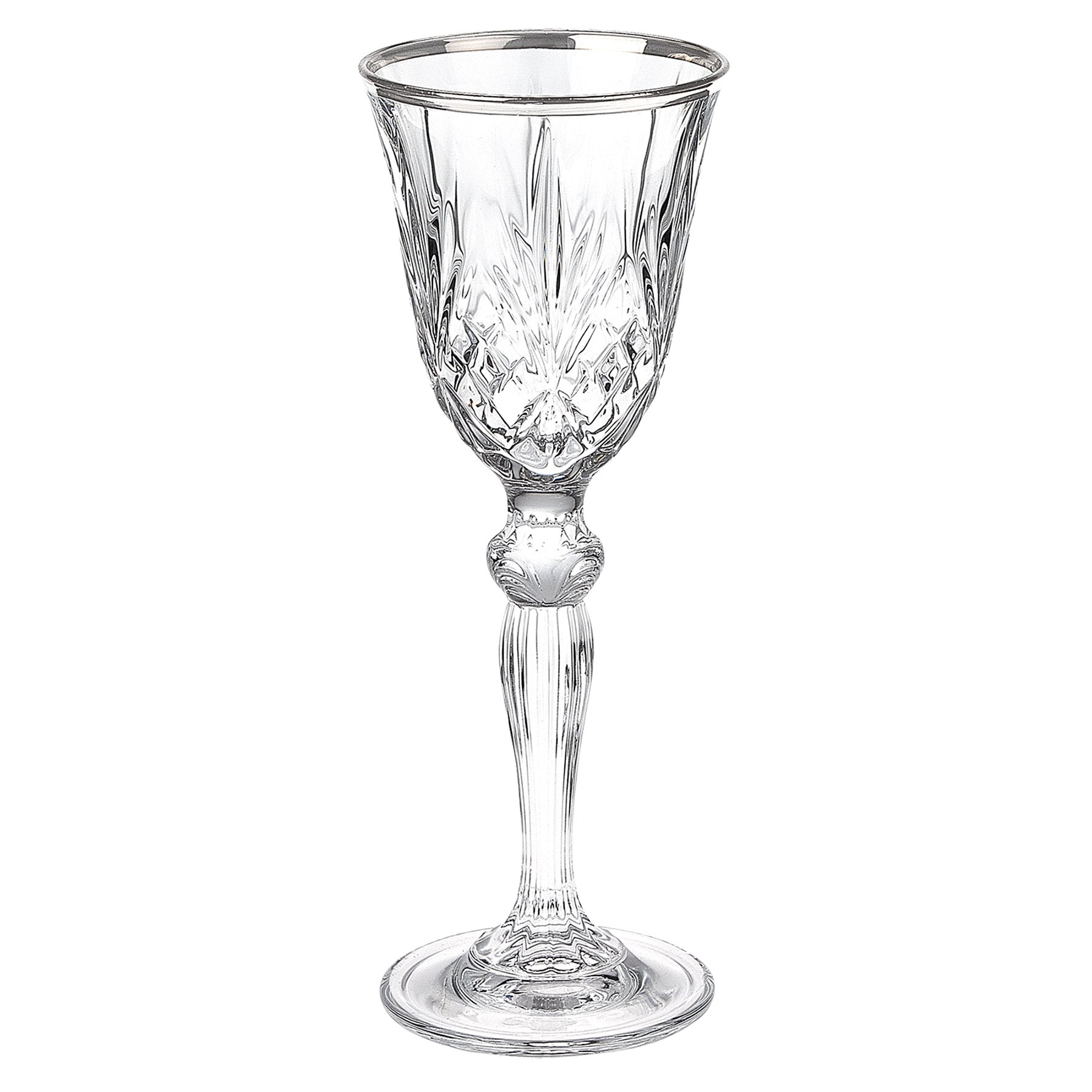 Lorren Home Trends Dynasty Collection Crystal Cordial Liquor Glass with Silver Band, Set of 6 by Lorren Home Trends
