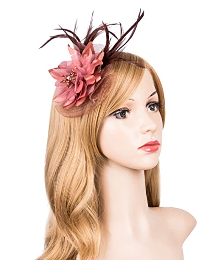 Kathyclassic Fascinator Hats for Women Feather Cocktail Party Hats Bridal  Kentucky Derby Headband (Coffee) e2d2b54f4d8