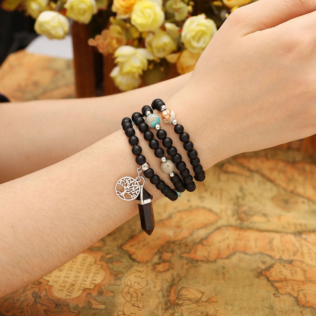 JOVIVI 6mm Matt Schwarz Achat Perlen Armband Buddha Armreif Wickelarmband Halskette mit Lebensbaum Hexagon Säulen Anhänger (Tigerauge)