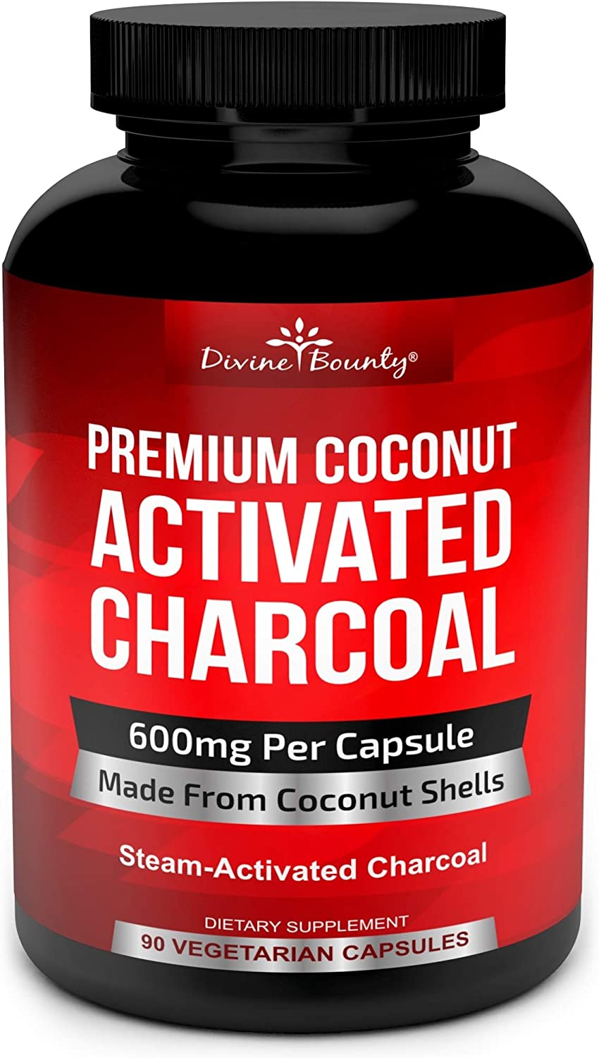 Organic Activated Charcoal Capsules - 600mg Coconut Charcoal Pills - 90 Veggie Caps: Health & Personal Care
