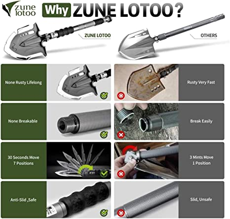 ,Survival Gear for Camping,Hiking,Fish Annihilate F-A1 Zune Lotoo Folding Shovel