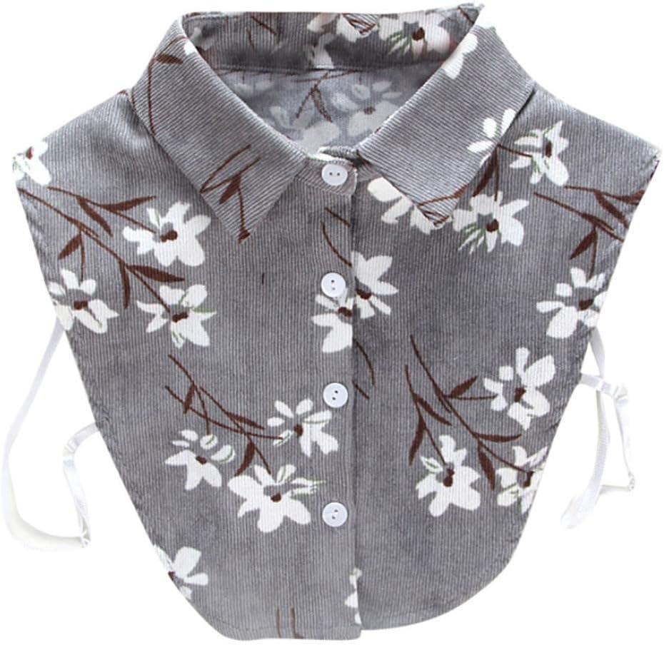 Impresión floral falso collar, hunpta mujeres nueva impresión floral Blusa falso cuello camisa de la ropa extraíble), gris: Amazon.es: Deportes y aire libre