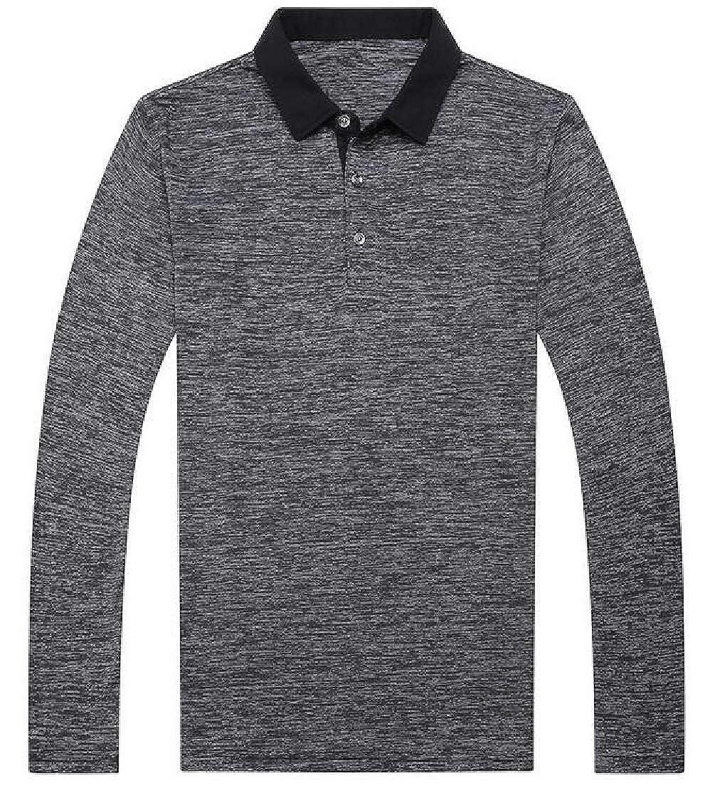 GenericMen Slim Polo Shirts Long Sleeve Casual Fit Lapel Collar T-Shirts