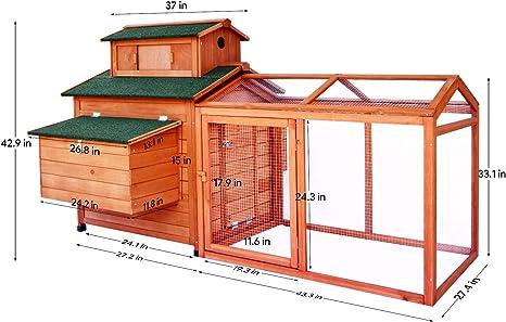LAZY BUDDY gallinero Coop, 70 pulgadas jaula de madera para pollo con 2 cajas de anidamiento para gallinas, uso interior y exterior, casa de pollo con techo impermeable para pollo y otras