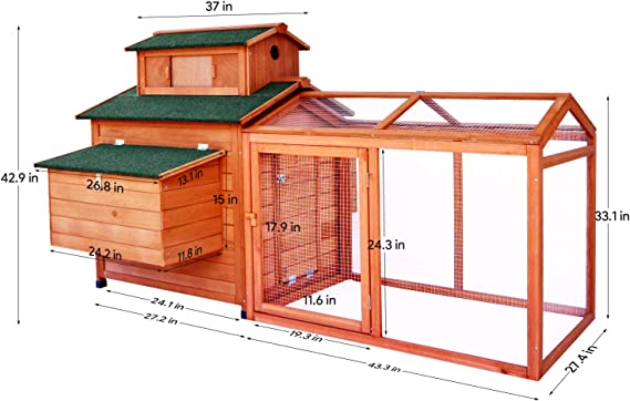 LAZY BUDDY gallinero Coop, 70 pulgadas jaula de madera para pollo ...