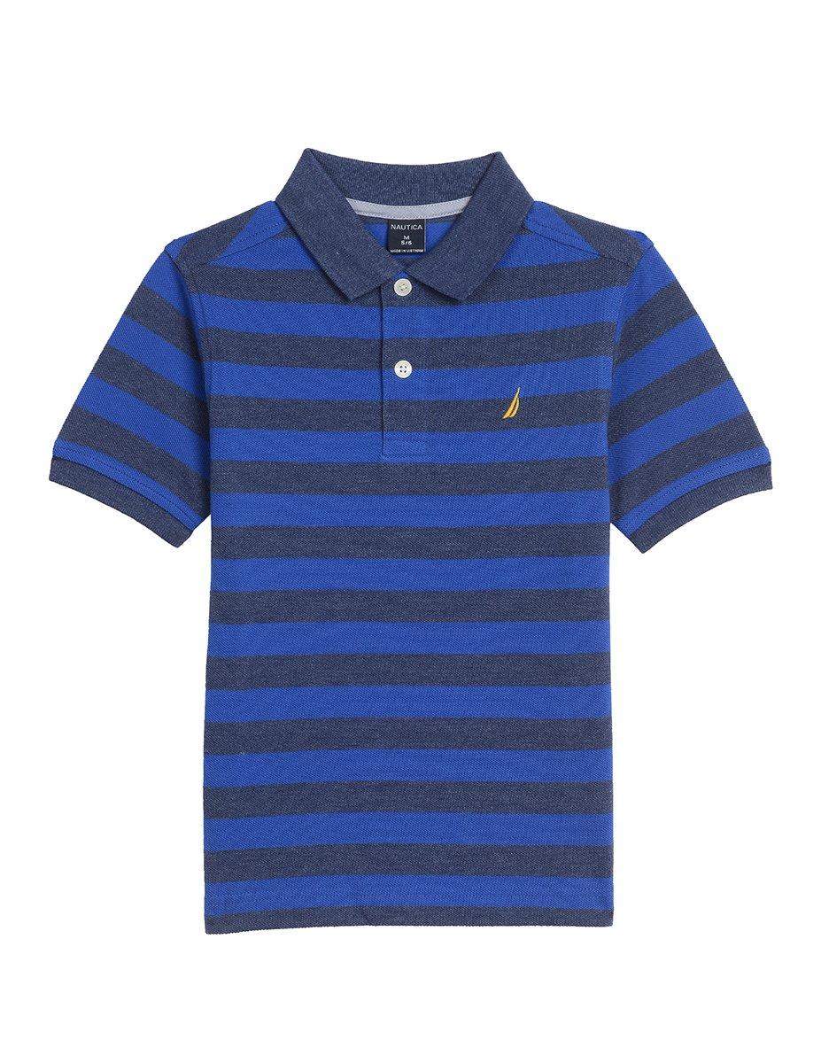 Nautica Boys' Short Sleeve Striped Deck Polo Shirt