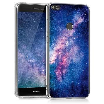 kwmobile Funda para Huawei P8 Lite (2017) - Carcasa de [TPU] para móvil y diseño de Estrellas en la Galaxia en [Rosa Claro/Rosa Fucsia/Azul Oscuro]