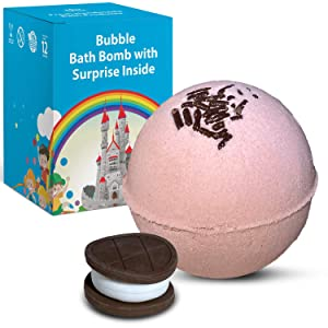 1 Bubble Bath Bomb for Kids with Surprise Fast Food Eraser Toy Inside - Natural Ingredients Safe for Sensitive Skin - Moisturizing Coconut and Olive Oils and Sweet Strawberry Aroma