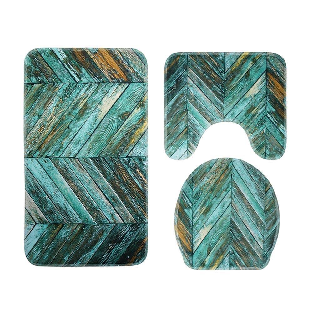 Matefield 3pcs/set Plank Printed Non Slip Water Absorb Floor Rugs Carpet Bath Mats (A)
