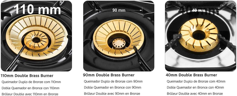 HAEGER Triple SAFINE Doppelbrenner mit 110 Triple-Disc-Gaskocher Geh/äuse aus Edelstahl und Boden f/ür gro/ße Pfannen 90 und 40 mm Durchmesser