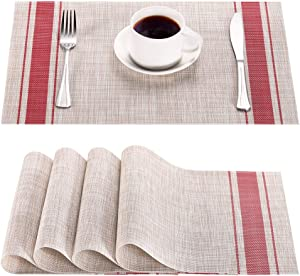 Syntus Placemats, Red PVC Woven Vinyl Table Mats Washable Non-Slip Heat Resistant for Kitchen Dinning Table Thanksgiving & Christmas, Set of 4