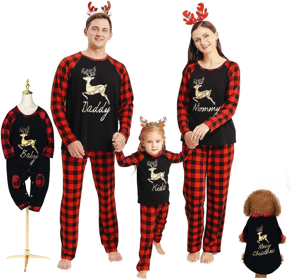 Borlai Conjunto de Pijamas navideños Familiares a Juego con Pijama de Cuadros navideños para Hombres, Mujeres, bebés, niños, Mascotas