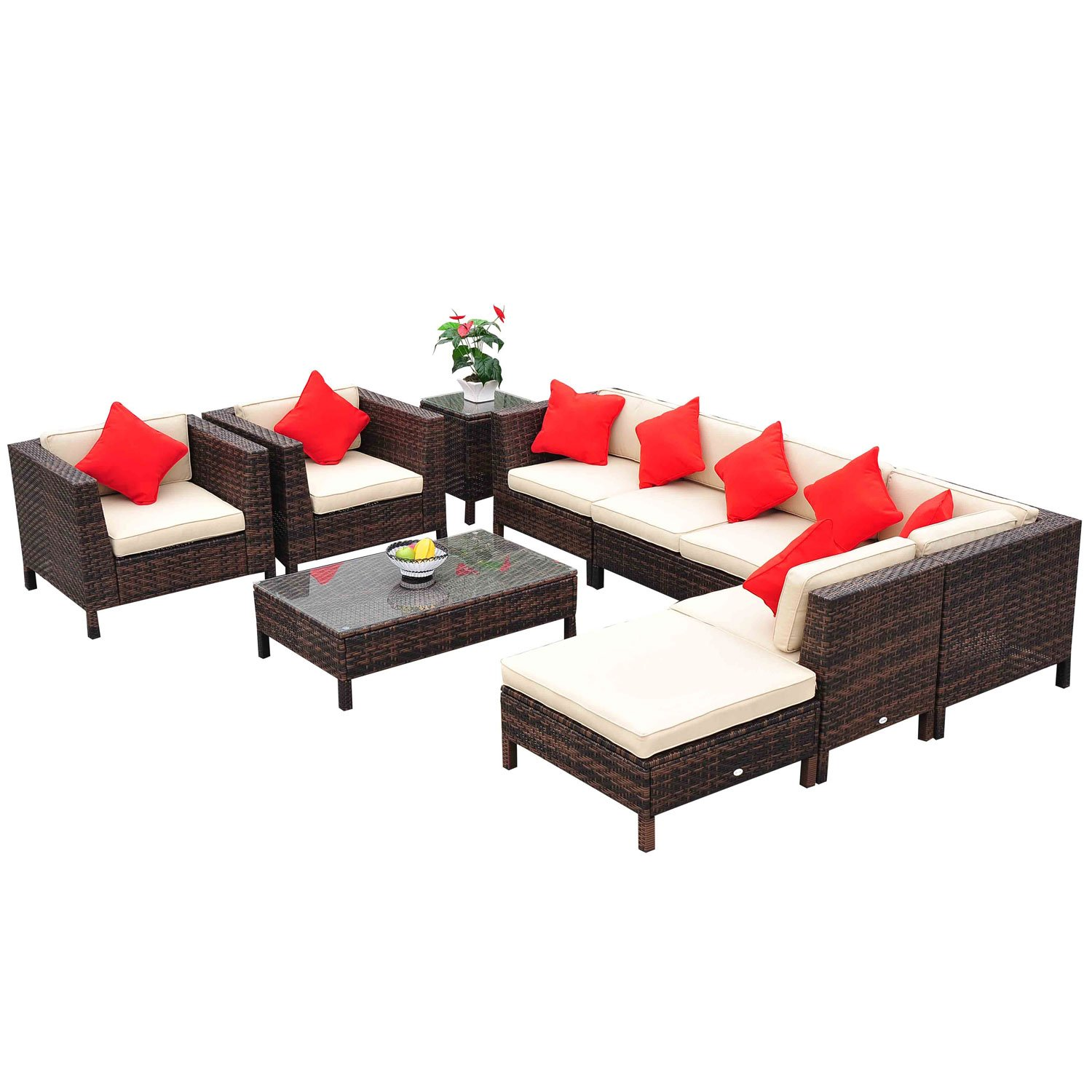 luxury of best home outsunny until discount rattan set fresh ottomans wicker furniture pe patio template with lounge outdoor