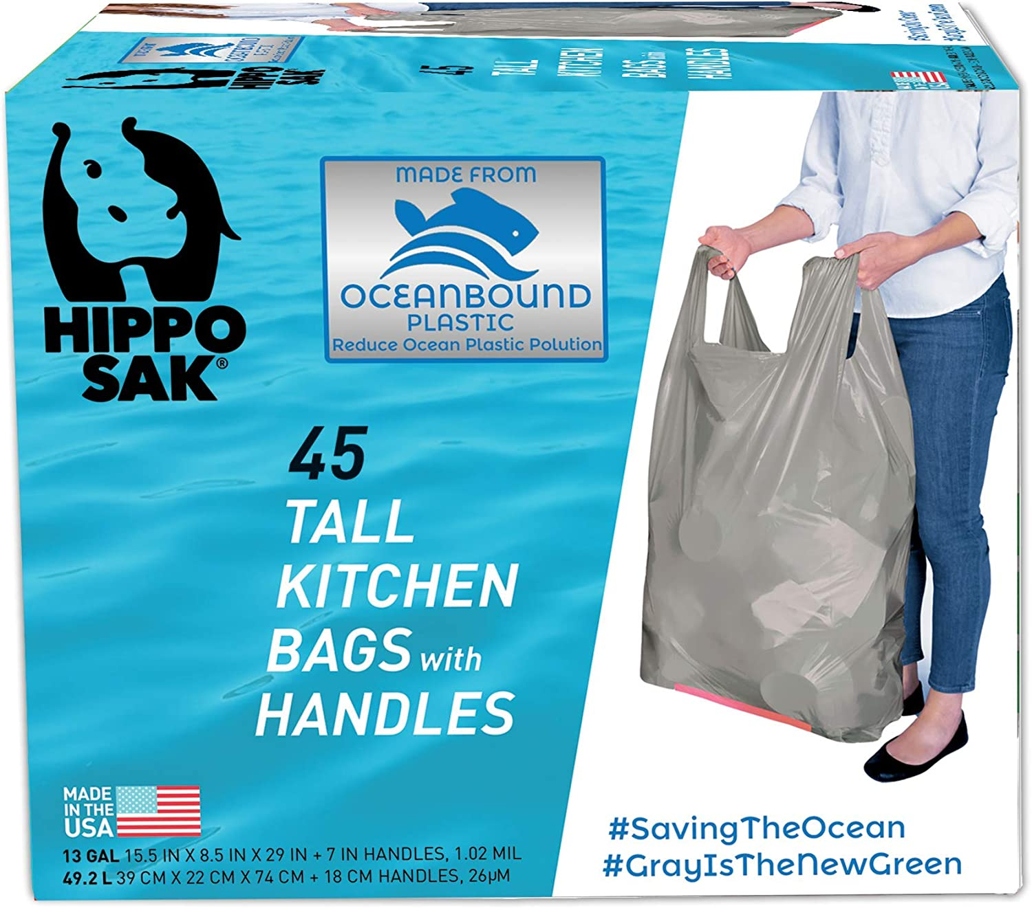 Hippo Sak Tall Kitchen Bags Made with Recycled Ocean Plastic, 45 Count